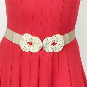 Gold belt with stretch band and embellished buckle